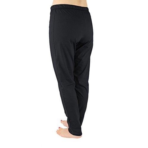 Alkato Damen Schlafanzughose Lang Schlafhose 100% Baumwolle Schwarz