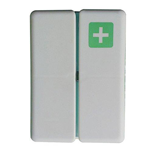 Portable Weekly Pill Box, 7 Compartimentos Imán Caja de Pastillas, Dispensador de vitaminas Pastilleros para Aire Libre y Viajes (verde)