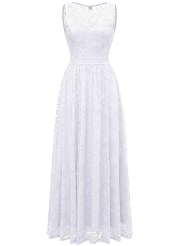 WedTrend 10007 Damen Lace Lange Brautjungfer Kleid Party Kleid Cocktailkleid Ivory XXXL