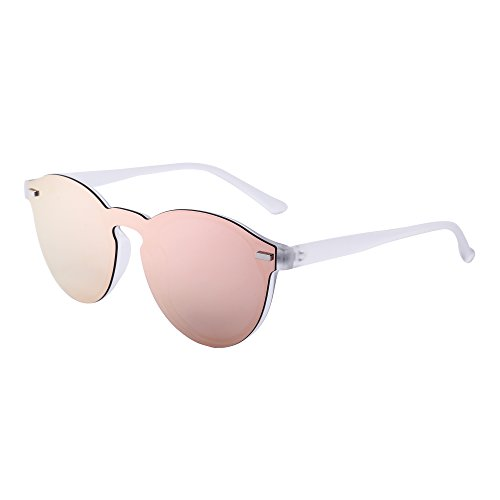 Gafas de Sol Polarizadas Sin Marco Club Redondas Sin Montura Espejo Reflexivo Wayfarer Rosa