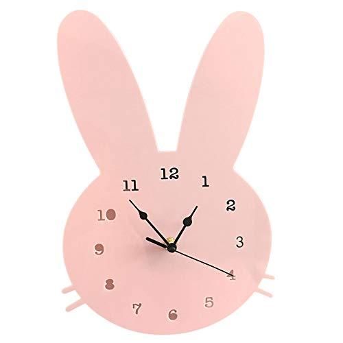 Sguan-wu Nordic Cute Rabbit Wooden Mute Wanduhr Dekoration für Schlafzimmer Kinderzimmer Haus Pink