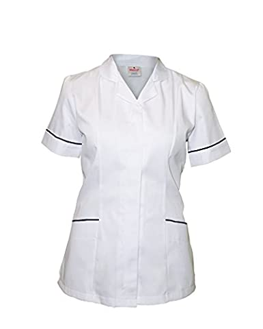 Medco Nurses Uniform - Broad Trimmed Round Collar Uniform With Navy Trim - T16 - White - Size 12