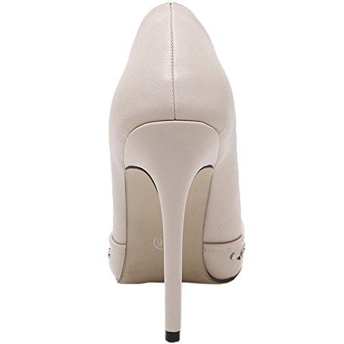 HooH Femmes Escarpins Stiletto bout pointu Clouté Engrener Sexy Escarpins Slip On Beige