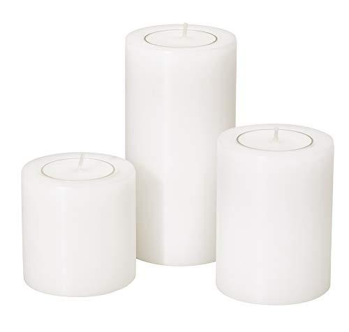 EDZARD Teelichthalter Teelichtkerze Dauerkerze Cornelius, 3er Set, ø 6 cm, Höhen 6 cm, 8 cm und 10 cm, für handelsübliche Teelichter und durchsichtige höhere Teelichter, hitzebeständig bis 90°