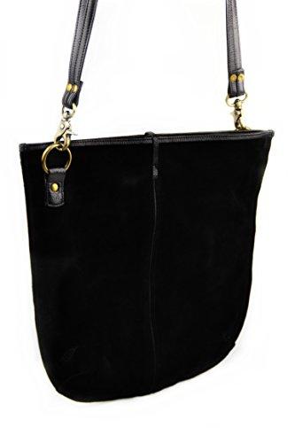 r ALAMEDA Ledertasche Wildleder Lederhandtasche Handtasche Abendtasche Damen Einkaufstasche Henkeltasche Freizeittasche Shoppinbgtasche Schultertasche schwarz Elegant (Party-stadt Auf Der Linie)
