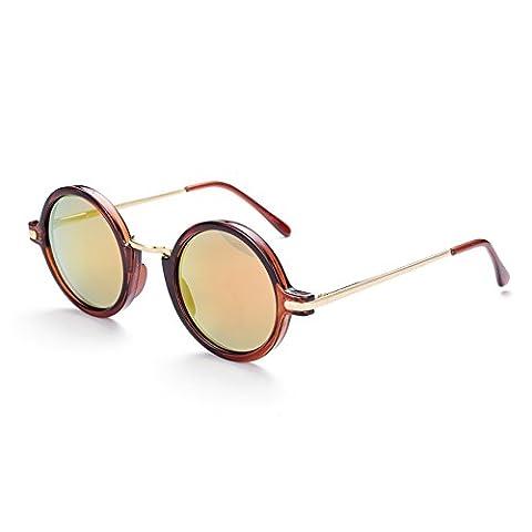 Hmilydyk classique Aviator Lunettes de soleil rétro pour homme vintage Miroir rond UV400Lunettes Conduite Pêche Eyewear, Gold Frame Black Lens