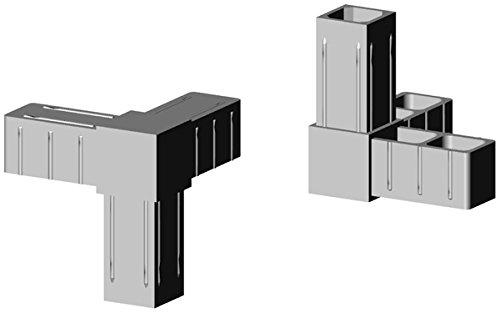 Winkel mit Abgang - Eckverbinder Kunststoff grau ähnl. RAL 7035 - für 25x25x2mm Aluminiumprofil Steckverbinder für Aluminiumprofile (Al-winkel)