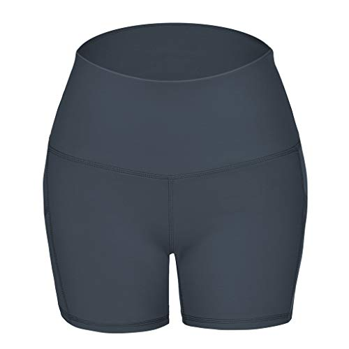 iYmitz Damen Kurze Hose mit Taschen Hohe Taille Yoga Hosen Frauen Sport Shorts Leggings Hosen(Grau,XL) - Womens Cuffed Denim Bermuda Shorts