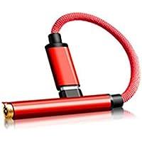 ZZuffig 2 1 90 Grados USB Tipo C a 3,5 mm Cable de sincronización de Audio Conector de Carga Rojo Cable Adaptador de Auriculares, Electrónica y fotografía