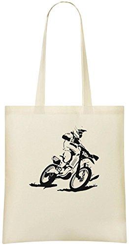 Motocross Racer Kundenspezifische bedruckte Einkaufstasche - 100% weiche Baumwolle - umweltfreundliche u. Stilvolle Handtasche für täglichen Gebrauch (Silhouette Racer)