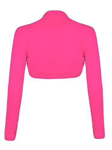 Fast Fashion - Cardigan Haut Manches Longues Plaine De Taille Plus Boléro Haussement - Femmes Fuchsia