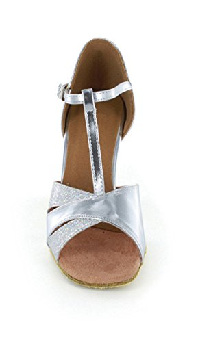 Scarpe da ballo Minitoo, da donna, decolté, satinate con lo strappo, sandali per balli latinoamericani, balli da camera Silver