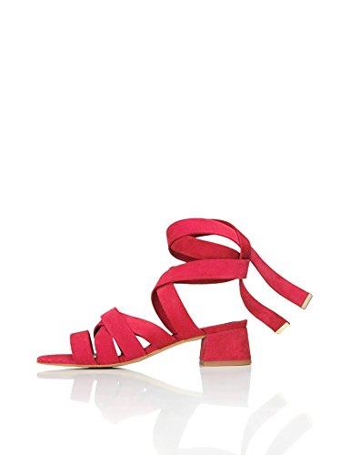 FIND Sandalias de Tiras Atadas Al Tobillo Para Mujer, Rojo (Red), 41 EU