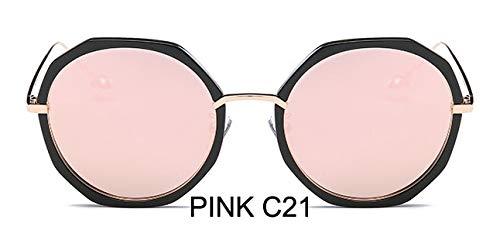 LKVNHP Rosa Polarisierte Sonnenbrille Männer Hexagon Mode Anti-reflektierende Fahren Klare Gläser Frauen Mit BoxWPGJ117 rosa c21