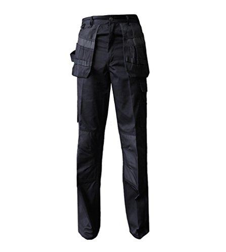 LUL® Herren Arbeitshose Robuste Cargo Multi Taschen Knie Pad Taschen Größen w30-w50 Gr. 32W x 33L, schwarz - Mens-dienstprogramm-hose