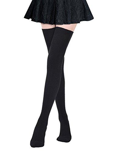 Kayhoma Extra lange Oberschenkelstrümpfe aus Baumwolle über das Knie hoch Stiefelstrümpfe Baumwolle Beinstulpen - Schwarz - Einheitsgröße (Hoch Größe Socken Plus Knie)