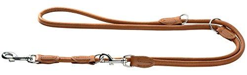 HUNTER Round und Soft Elk Verstellbare Führleine für Hunde, Leder, weich, rund, 1,0 x 200 cm, cognac (Leder Hund Halsband Und Leine)