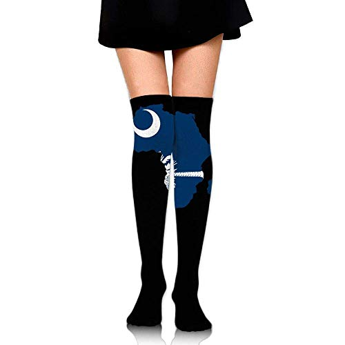 Xdevrbk Women's Knee High Compression Thigh High Socks South Carolina Flag Africa Map for Running Sport Long Stockings - Farbton Damen Socken Jeans