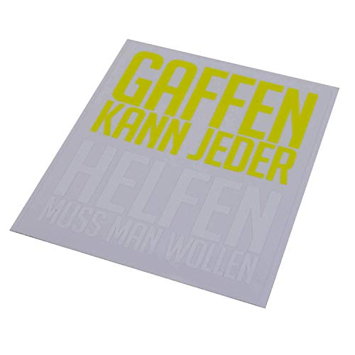 FIRE & FIGHT Streetwear GAFFEN KANN JEDER - Aufkleber 12 x 14 cm gelb/weiß