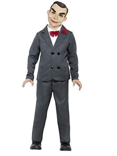 Gänsehaut Kostüm - costumebakery - Jungen Kinder Kostüm Gänsehaut Slappy die Bauchredner Puppe Anzug mit Hose Jacke Hemdteil Fliege und Maske, perfekt für Halloween Karneval und Fasching, 140-152, Grau