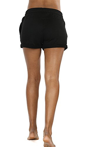 icyZone Damen Baumwolle Shorts Hot Pants Sporthose Strand Running Gym Yoga Shorts Hosen Black