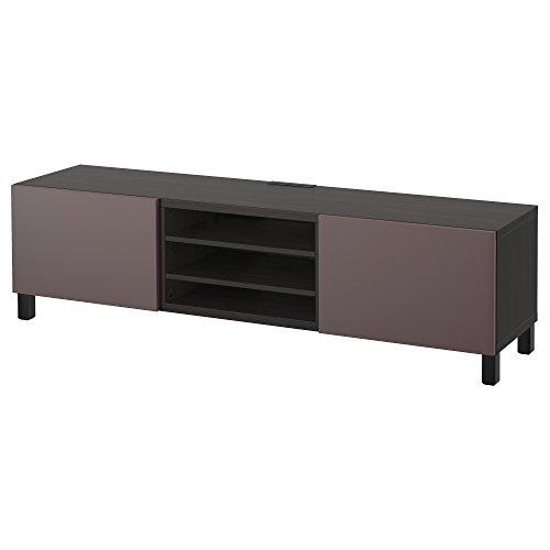 IKEA BESTA - TV-Bank mit Schubladen schwarzbraun / valviken dunkelbraun