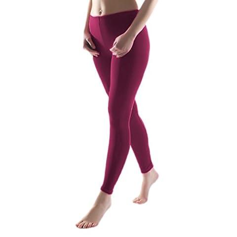Mädchen Leggings mit Innenfleece Thermoleggings Kinder Leggins Lang Winter, Farbe: Pflaume, Größe: 140-146
