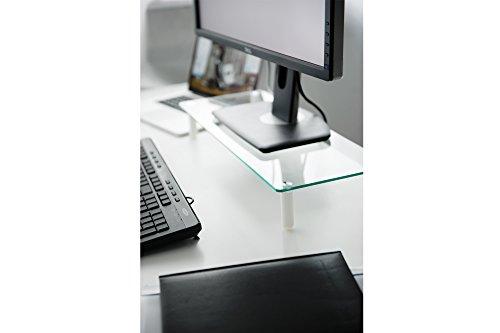 DIGITUS Universal Glas Monitorerhöhung, 13-32 Zoll, 8cm Erhöhung, 56 x 21 x 8 cm, bis 20kg, Durchsichtig/Silber - 2
