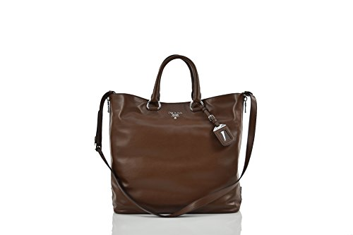 Prada Women's Shoulder Leather Bag with Lateral hinges - Made in Italy (Handtasche Braun Prada)