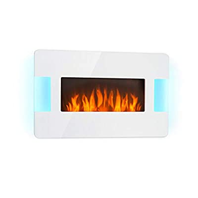 Klarstein Belfort Light & Fire Electric Fireplace with Flame Effect • Electric Fireplace • 1000 or 2000 Watts • Thermostat • Timer • Ambient Lighting • Remote Control • Wall Mounting • White