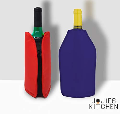 2er-Set Weinkühler und Sektkühler Hülle Manschetten - Rot & Blau - Perfekt zum Kühlen von Wein- und Sekt- Champagnerflaschen und andere - Ideal für Dinnerparties, Events, etc.