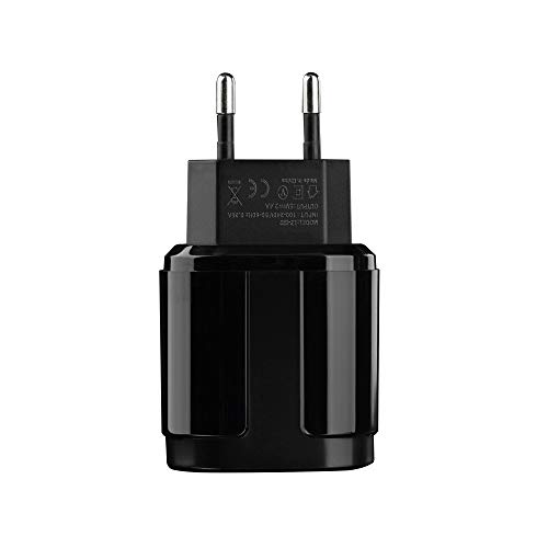 USB Ladegerät,5V/2.4A USB Netzteil,2 Ports Schnelles Ladekopf,EU Stecker Wandladegerät für Smartphones, Samsung Galaxy, HTC,Huawei, LG G5,Nexus, Nokia,iPhone (Schwarz) -