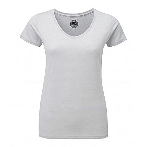 Russell Damen HD T-Shirt mit V-Ausschnitt, kurzärmlig Violett meliert