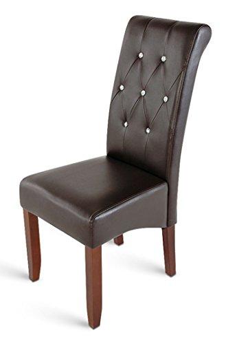 SAM Polster-Stuhl Juri, Esszimmer-Stuhl mit Ziersteinen, Lederimitat, braun, Massive Holzbeine in kolonialfarben, Design-Stuhl, Küche und Esszimmer - Designer Leder Stühle