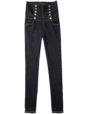 Anguang Mujer Flaco Delgado Ajuste Mezclilla Pantalones Alto Cintura Jeggings Pantalones