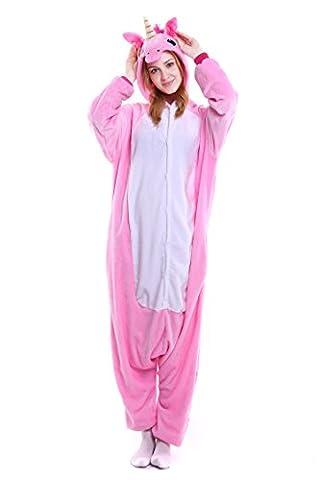 Einteiler Pyjama - YousonGirl® Einhorn Kostüm Pyjamas Tierkostüm Schlafanzug Verkleiden Cosplay Kostüm zum Karneval Fasching Halloween (L: Höhe (65.7inch-69.7inch / 168cm-177cm), (Rosa Einhorn-kostüm)