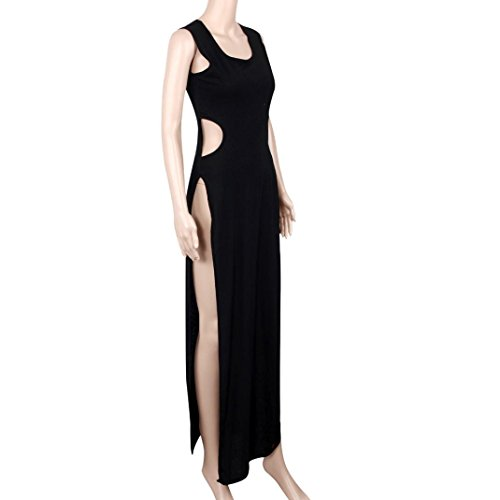 Robe Femme, Koly Ete 2016 Robe De Cocktail SoiréE Maxi Longue Scission Clubwear Sexy Pas Cher Romantique Noir