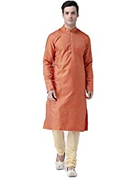 67db12291 Deyann Full Sleeve Jacquard Kurta and Silk Churider Set for Men(Orange)