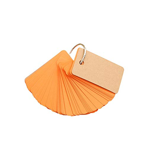 EUTUOPU Mini Buckle Loose-Leaf Blank Kraft Paper 90 Pages Portable Memo Notes for Everyone (orange) (Live-leaf)
