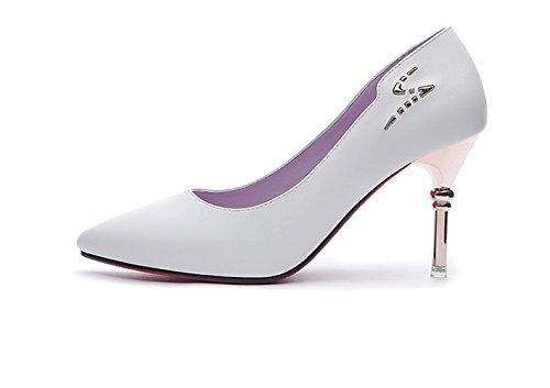 Damen 8 CM Stilettos Hell Spitzen Leder Pumps Klassic Hochzeitsschuhe Weiß
