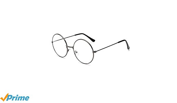 02ad260bc4 LUOEM Unisex Retro Round Glasses Frame Clear Lens Glasses Ultra Light  Compatible With Santa Claus and Harry Potter Cosplay (Gun Colour)   Amazon.co.uk  ...
