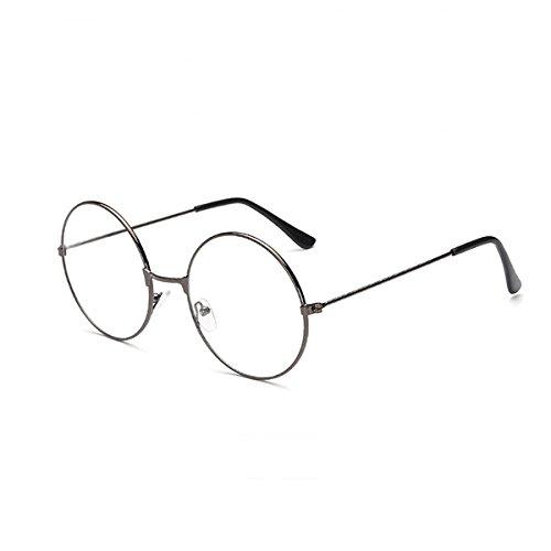 LUOEM Unisex Retro Runde Brillen Klare Linse Gläser Ultra Light für Santa Claus und Harry Potter Cosplay (Gun-Farbe) -