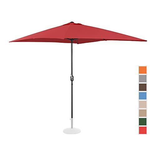 Uniprodo Parasol De Terrasse Droit Grand Jardin Protection Solaire UNI_Umbrella_SQ2030BO (Bordeaux, Rectangulaire, 200 x 300 Cm, Acier, Alu, Polyester Haute Densité 180g/m2)
