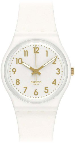 Swatch gw164 34 mm Plastic Case White Rubber Minéral Women's Watch