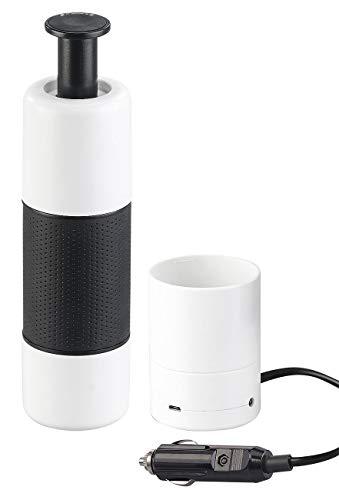 Rosenstein & Söhne Auto-Kaffeemaschinen: Manueller Mini-Espresso-Maker mit 12-Volt-Wassererhitzer, 10 g/100 ml (Kaffeemaschine Camping)