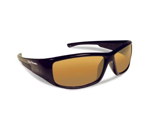 Flying Fisherman Gaffer Polarisierte Sonnenbrille, Rahmen schwarz, Bernstein Objektive