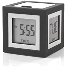 Lexon LR79G3 Cubissimo - Despertador (LCD, 4 caras), color gris oscuro