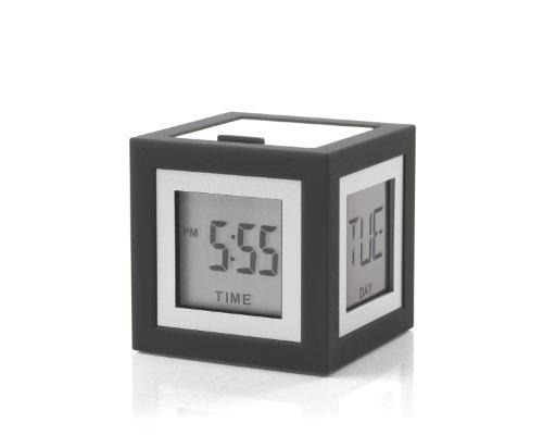 Lexon LR79G3 Cubissimo - Despertador LCD, 4 Caras, Color Gris Oscuro
