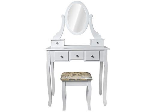 MALATEC Schminktisch Kommode Weiß Shabby Chic Vintage Hocker 5 Schubladen Großer Spiegel #4647