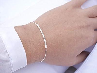 Bracelet minimaliste argent 925 - chaine serpent argent - bracelet ultra fin - perles miyuki blanches - bijoux été blanc - argenté et blanc